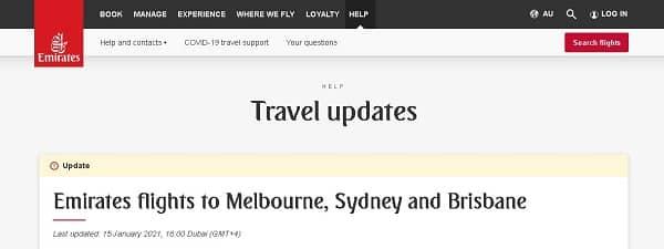 Emirates приостанавливает полеты